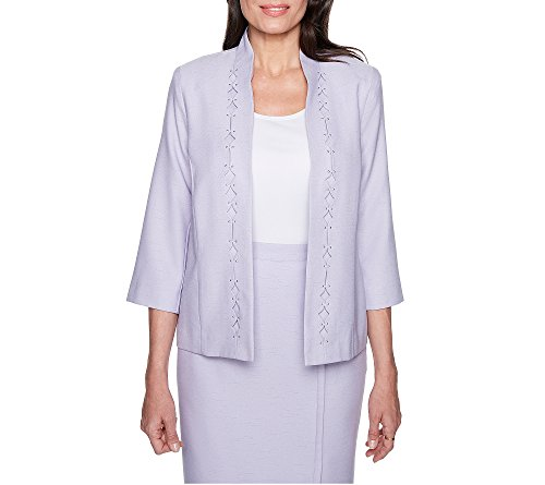 Alfred Dunner Diamond Cut Out Jacket Lilac 16 (Dunner Alfred Blazer)
