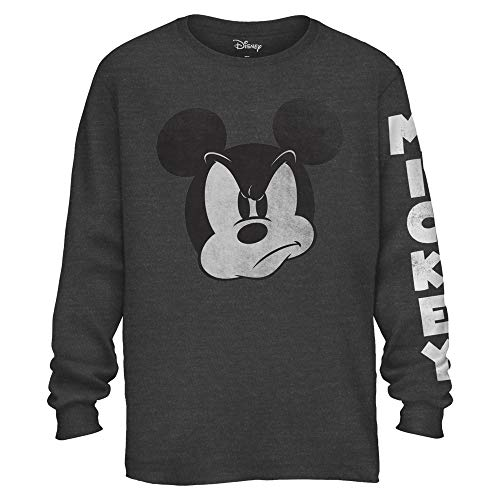 Mad Mickey Mouse Graphic Classic Vintage Disneyland World Men's Adult Long Sleeve T-Shirt (Charcoal Heather, -
