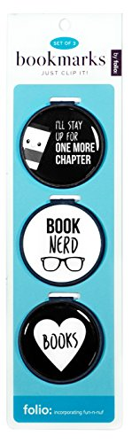 Heart Nerds - Just Clip it! Quote Bookmarks - (Set of 3 clip over the page markers) - I'LL STAY UP FOR MORE CHAPTER, BOOK Nerd, Heart BOOKS