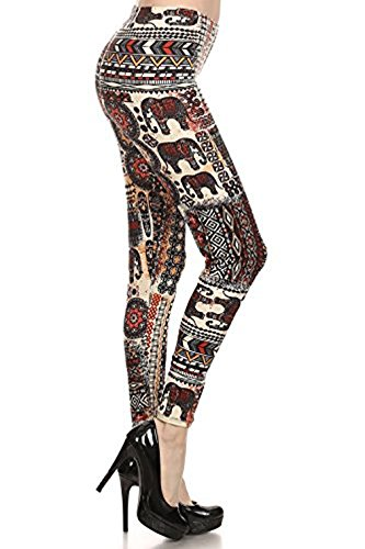 Basico Womens Print Legging with Various Designs,Small -2XL (One Size Fit XL-2XL, LG_F196)