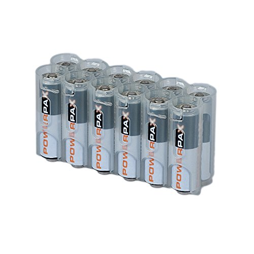 Storacell by Powerpax AA Battery Caddy, Clear, Holds 12 Batteries by Storacell