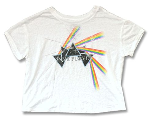 (Pink Floyd Tumbling Prisms DSOTM Girls Juniors Burnout White Shirt (M))