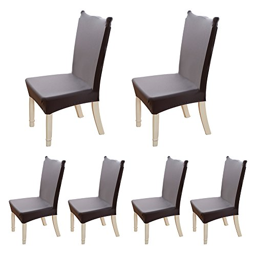 - HOTNIU Spandex Fabric Arm Chair Slipcovers - Removable Universal Stretch Elastic Chair Protector Covers - Solid Color Super Fit Kitchen Chair Cover (6 Pack, Grey)
