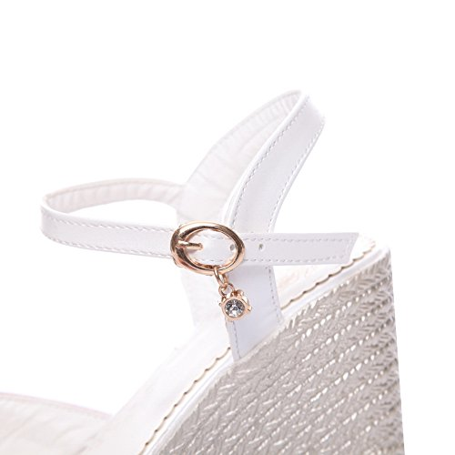 BalaMasa Womens Sandals Peep-Toe No-Closure Ankle-Wrap High-Heel Cold Lining Smooth Leather Peep-Toe Light-Weight Urethane Sandals ASL04310 White VD21iK