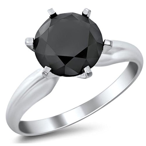 3.00 Carat Round Shape Black Diamond Solitaire Silver Ring Gift for Girlfriend by skyjewels