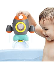 Elovien Baby Bath Toys, Space Rocket Shape Bathtub Toys for Toddlers, Spray Water Toys w/ Rotating Fountain, Bathroom Shower Toys for Infants Aged 18 Months 1 2 3 4 5 Years Old Kids Girls Boys