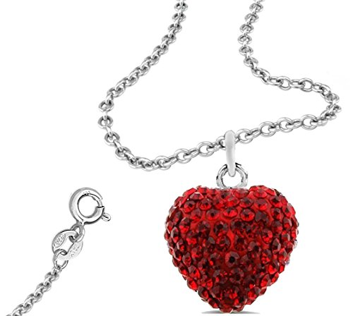 Red Heart Cubic Zirconia Pendant with 18 Inch Rolo Chain Necklace
