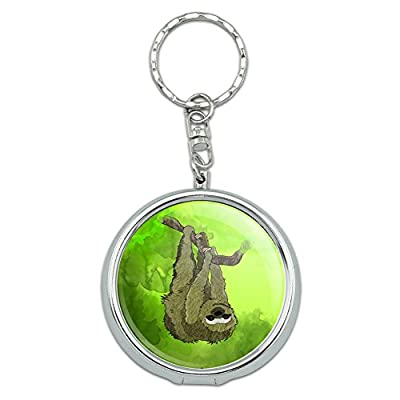 Graphics And More Portable Travel Size Pocket Purse Ashtray Keychain With Cigarette Holder Animals - White Bengal Tiger With Blue Eyes -