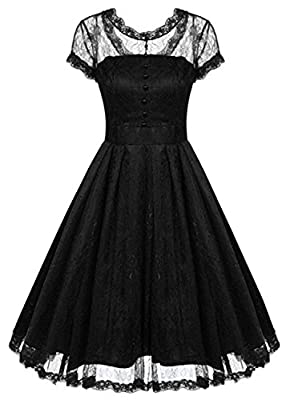 SYLVIEY Womens Vintage Floral Lace Wedding Cocktail Prom Swing Bridesmaid Dress