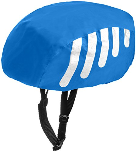 (Wealers High Visibility Waterproof Helmet Cover For Bike / Bicycle with Reflective Stripes - Adjustable Fit One Size Fits Most)