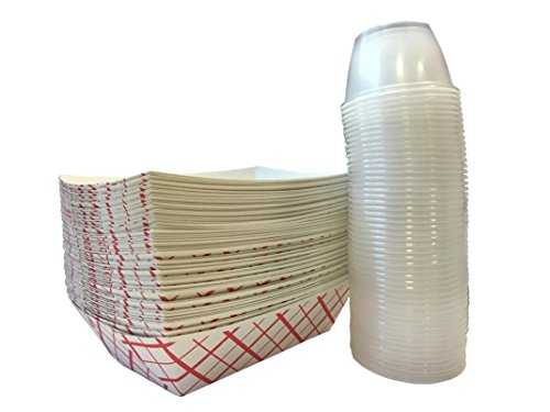 Paper Food Tray 2.5-Pound With Clear Plastic Dip Cups 100-Pack