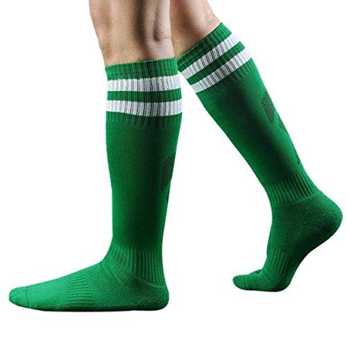 Mens Stripe Printed Socks Team Hockey Baseball Football Soccer Socks Solid Over Knee High Long Sports Crew Socks By GateLie (Green)