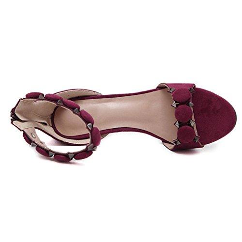 Sandales Minimalistes à Petits Talons en Suédine,OveDose Été Femme Fête Soirée Chaussures Talons Hauts Bride Cheville Peep Toe Sexy High Heels Rouge