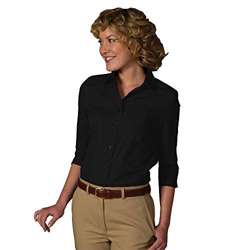 (Averill's Sharper Uniforms Women's Ladies Poplin 3/4 Sleeve Point Collar Shirt Large(16-18) Black)