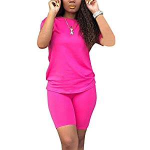 VKVKA Women's 2-Piece Shorts Solid Color Short-Sleeved T-Shirt Tights Suit