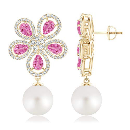 (South Sea Cultured Pearl & Pink Sapphire Floral Earrings in 14K Yellow Gold (10mm South Sea Cultured Pearl))