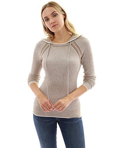 PattyBoutik Women's Marled Raglan Hoodie Sweater (Tan and White M) (Ladies Raglan Hoodie)