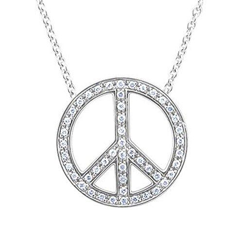 925 Sterling Silver Peace Sign Diamond Pendant Necklace (0.29 Carat) - IGI Certified