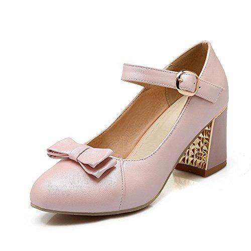 Pehmeä kengät Solki Pumput Toe Allhqfashion Materiaali Suljetun Naisten Pinkki Pyöreä Kiinteä Korkokenkiä 50xqBqgwv