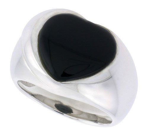 (Sterling Silver Ladies' Ring w/ a Heart-shaped Jet Stone, 5/8