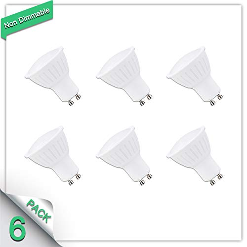 - 6 Pack 4000K Natural White 5W LED Chip GU10 Bulb 50W Halogen Bulbs Equivalent CRI85+ 700 Lumens 120°Beam Angle Non Dimmable AC 120V SMD LED for Landscape, Cabinet,Supermarket