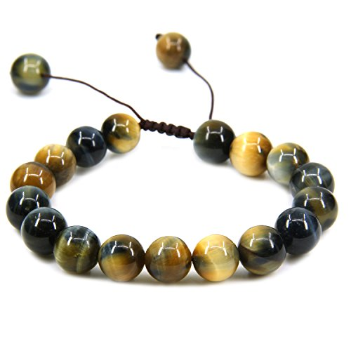 Natural A Grade Golden Blue Tiger Eye Gemstone 10mm Round Beads Adjustable Braided Macrame Tassels Chakra Reiki Bracelets 7-9 inch ()
