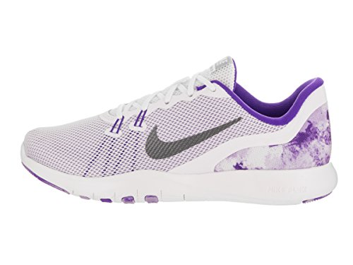 Nike Womens Flex Trainer 7 Print White/Mtlc Dark Grey Training Shoe 7.5 Women US