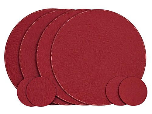 (Nikalaz Set of Round Red Placemats and Coasters, 4 Table Mats and 4 Coasters, Place mats 12.99'' and coasters 3.9'', Italian Recycled Leather, Dining Table)