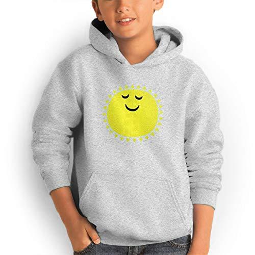 Youth Hoodies Cute Sun Ggirl%Boy Sweatshirts Pullover with Pocket Gray 30 by Shenhuakal