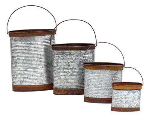 """Set of 4 Special T Imports 4-10"""" x 4.5-8"""" Oblong Galvanized Metal Decorative Nesting Buckets from Special T Imports"""