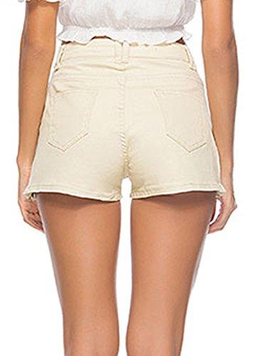 Hot Pantaloni Cerniera Donna Skinny Beach Fit Laterale Jeans Denim Con Giallo Corti Pantaloncini Shorts Casual Estivi Estate Dritti Pants Slim wST6d4q0