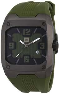 Quiksilver QS-2 Caius M130JR - Reloj analógico de cuarzo para hombre, correa de plástico color verde (agujas luminiscentes)