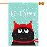 Let It Snow House Flag, Cute Funny Black Cat Kitten Head Face Looking Up, Red Hat and Scarf, Double-Sided, 100% All-Weather Polyester, Winter/Christmas Yard Flag to Bright Up Your House 28″ x 40″ Review