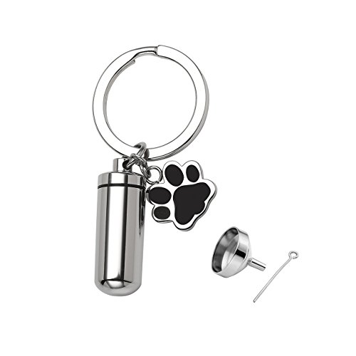 PiercingJ Free Engraving - Personalized Custom Stainless Steel Pet Cat Dog Paw Container Urn Memorial Pendant Keychain Ash Keepsake Cremation Jewelry Funnel Fill Kit (Box 55mm Chain)