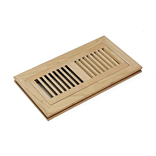4 X 12 Inch American Cherry Wood Flush Mount Floor Register Vent Cover Grille Unfinished by WELLAND, 3/4