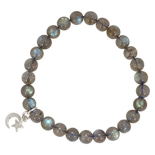 7mm Labradorite Bead Stretch Bracelet with Sterling Silver Crescent Moon and Star Charms by Luna Gem House