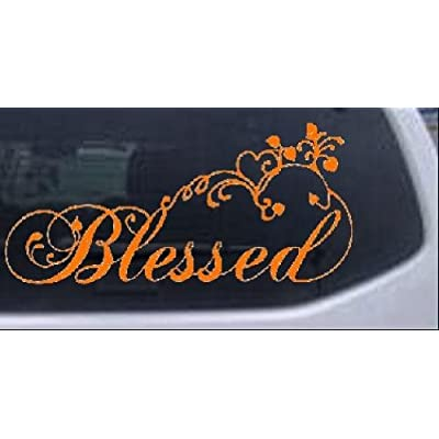 Rad Dezigns Blessed with Swirls Hearts Christian Car Window Wall Laptop Decal Sticker - Orange 5in X 10.7in: Automotive