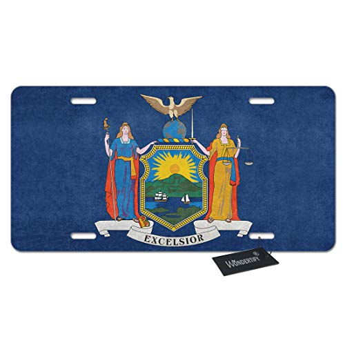 WONDERTIFY License Plate New York Flag State Flag with Grungy Distressed Textures Decorative Car Front License Plate,Vanity Tag,Metal Car Plate,Aluminum Novelty License Plate,6 X 12 Inch (4 Holes)