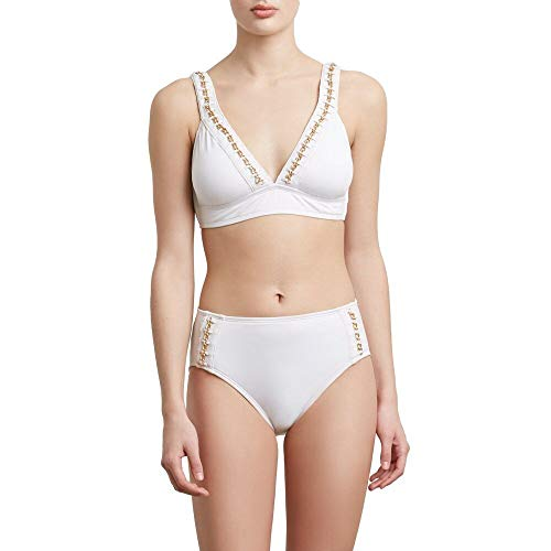 Kenneth Cole New York Women's Banded Triangle Over The Shoulder Hipster Bikini Swimsuit Top, White // Chain Reaction, Large
