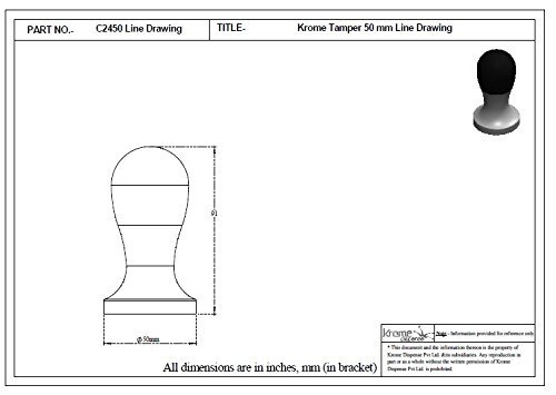 Krome Dispense 50mm Round Handled Krometamp Coffee Tamper - C2450