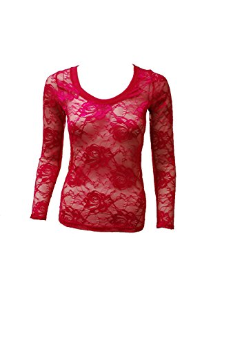 Love My Seamless Women's Ladies Missy All Sheer Lace Fashion Top With Long Sleeves