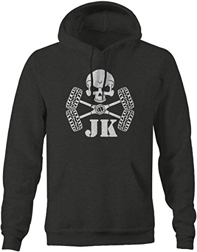 Skull Crossbones Tires & Axles Jeep Wrangler JK Parts Mens Sweatshirt - Xlarge (Skulls Grey Fleece Crossbones And)