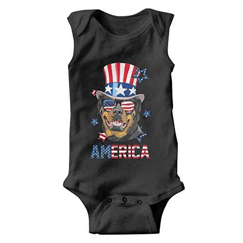 (Rottweiler American Flag Hat Glasses Unisex Baby Onesies Funny Infant)