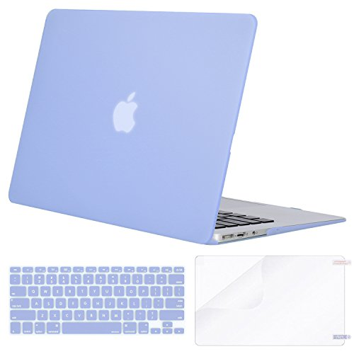 MOSISO Plastic Hard Shell Case & Keyboard Cover & Screen Protector Compatible MacBook Air 11 Inch (Models: A1370 & A1465), Serenity Blue