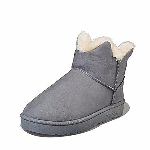 ZHUDJ Damen Schuhe Winter Stiefel Absatz Runder Für Casual Grün Violett Grau Schwarz Gray