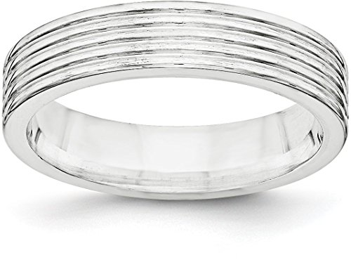 Sterling Silver Men's and Women's 5mm Plain Classic Flat Comfort-fit Grooved Wedding Band Ring - Size 8.5