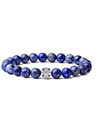 Natural 8mm Gemstones Healing Crystal Stretch Beaded Bracelet Bangle 925 Silver Double Happiness Pendant
