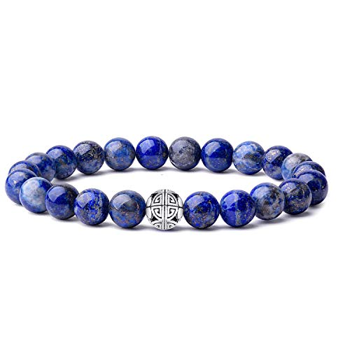 MetJakt Natural 8mm Gemstones Healing Crystal Stretch Beaded Bracelet Bangle 925 Silver Double Happiness Pendant (Lapis Lazuli)