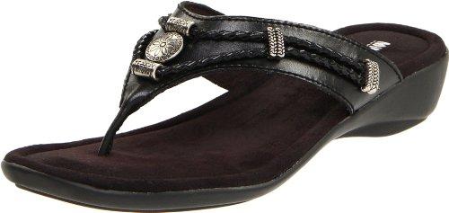 Minnetonka Women's Silverthorne Thong Sandal,Black,7 M - Silverthorne Stores