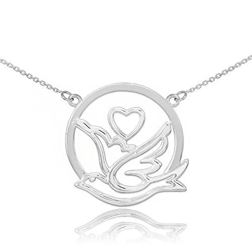925 Sterling Silver Love Dove with Heart Pendant Necklace, 18